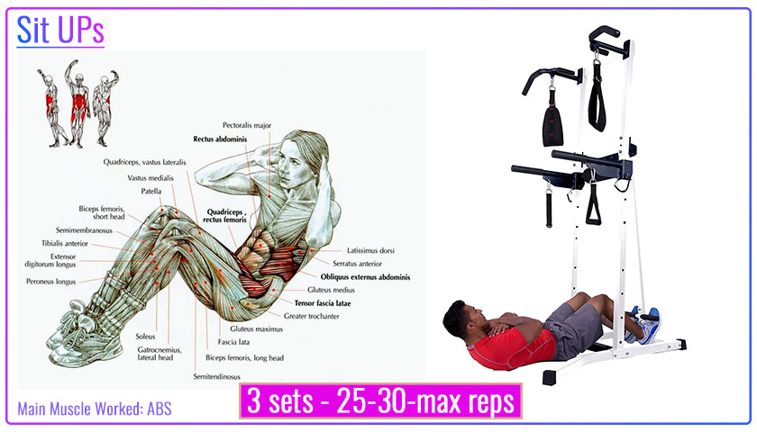 Sit-ups with power tower