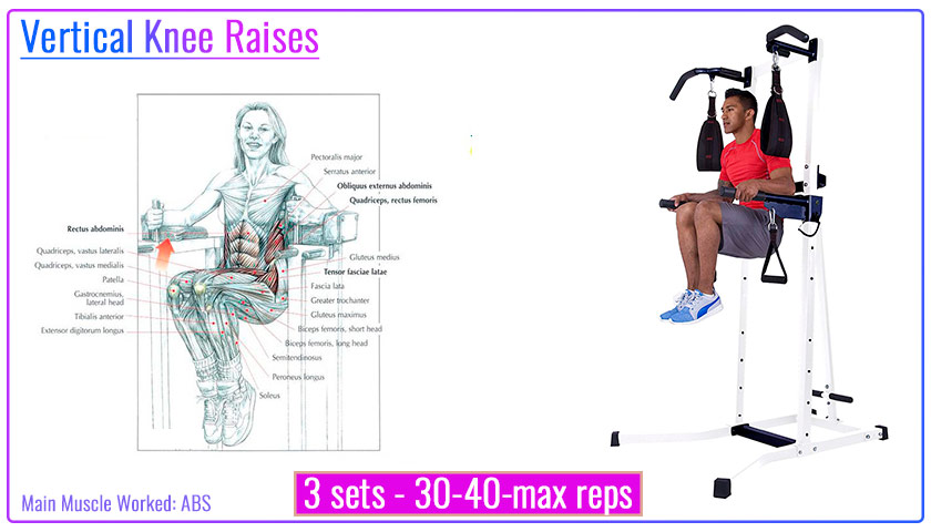 Vertical Knee Raises with Power Tower